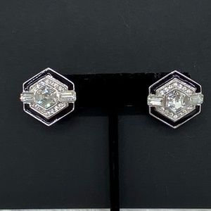 Givenchy Silver, Black, Crystal Earrings STAMPED